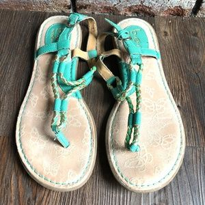 BOC BORN CONCEPT Teal & Gold Sandals Shoes ~sz 8
